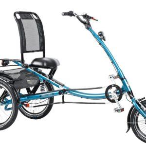 Trehjulet cykel med eller uden el og ryglæn